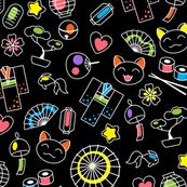 Japan kawaii culture neon doodles