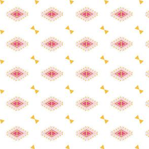 Aztec Quilt Bow -pink tangerine crush