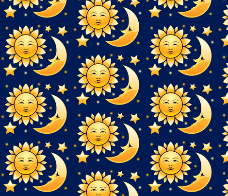Sun moon and stars fabric souix spoonflower for Sun moon fabric