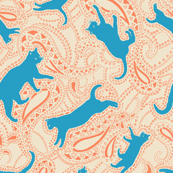 Paisley-Power-turquoise-caramel-cat-print-fabric-design