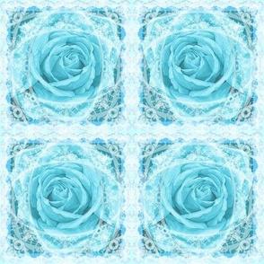 Aqua Rose Lace Celebration.     Handpainted (c) Copyright Ann Aveyard
