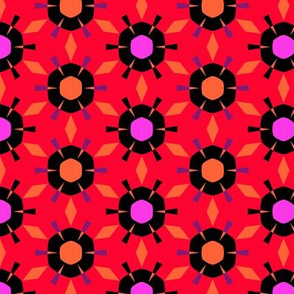 Red Hot Color Burst Geometric