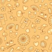 Japan kawaii culture doodles on gold