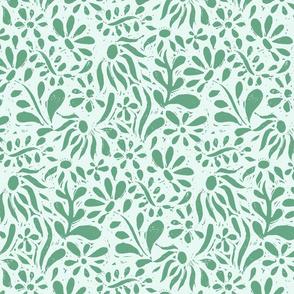 Linocut Floral Green