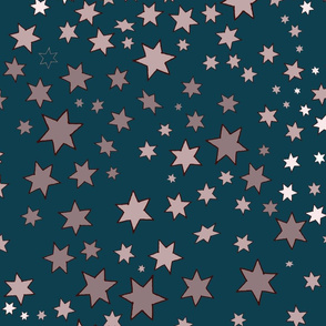 Mucha's Stars Teal Scattered