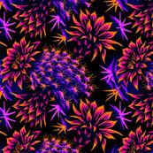 Cactus Floral - Bright Purple/Orange