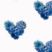 Vibrant Blue Bohemian Flowery Heart