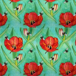 Bumblebee and Large Tulips