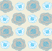 rose pattern in blue and cream