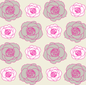 rose pattern in hot pink and cream