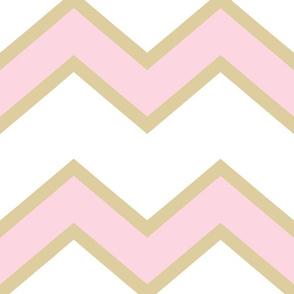 Pink Gold Chevron Large