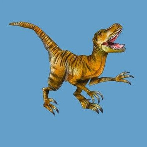 Orange and Brown Raptor on Blue