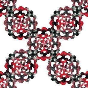 Flower Geometrical Red Black White