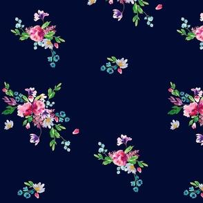 Navy Floral Watercolor