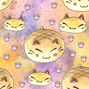 Watercolor Bread Cat