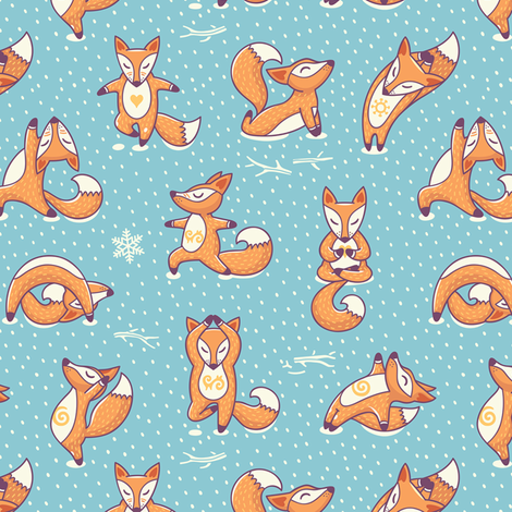 foxes yoga fabric -#main