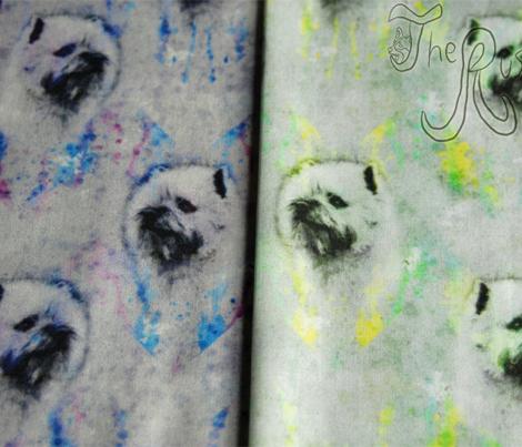 Watercolor Cairn Terrier chevron - yellow/green