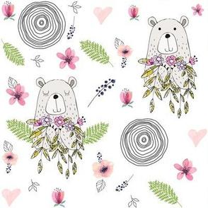 Floral Woodland Bear