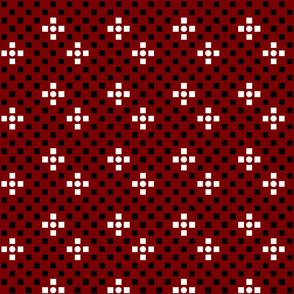 Squares Circles Geometric Red Black White