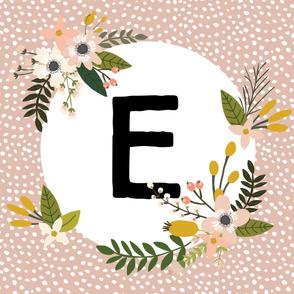 Blush Sprigs and Blooms Monogram Blanket // E