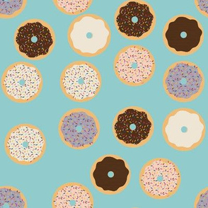 Donuts on light blue background
