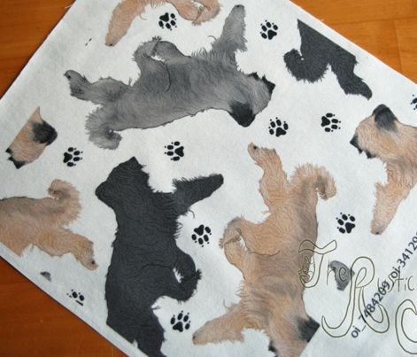 Trotting Briards and paw prints B - white