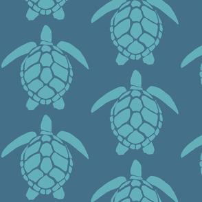 Sea Turtle XL  sea blue on denim