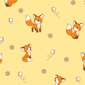 Curious foxes - on yellow