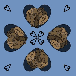 Bunny hearts (small) in brown and blue