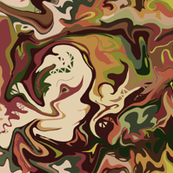 Bella Nina 2 - large scale -  Abstract Marbled Swirls  in which I see a beautiful young woman, chocolate  brown, forest green, olive green and brick red
