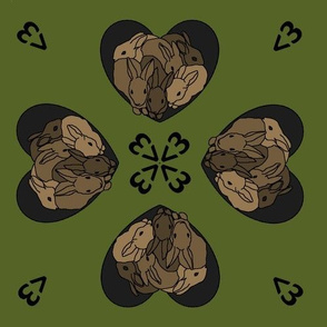 Bunny hearts (small) in brown and green
