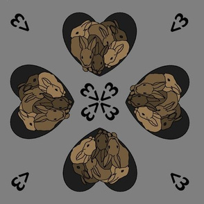 Bunny hearts (small) in brown and grey