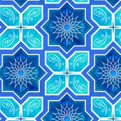 Moroccan Star Flower Geometric - Blue & Aqua