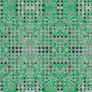 Dancing Dots and Spots of Grey on Emerald Green