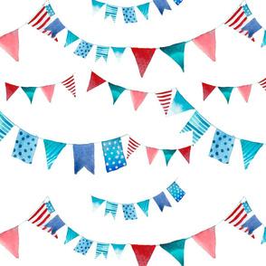 Watercolor flag garlands