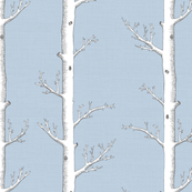 White Trees on Silver Grey Blue