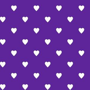 White Hearts on Purple