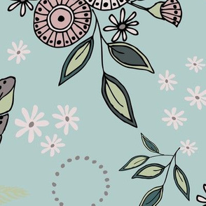 Daisy & Feather - Dusty Aqua - Lg