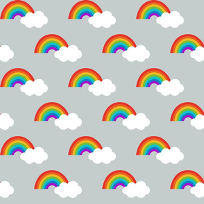 Rainbows and clouds on grey