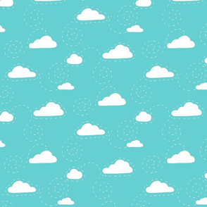 White clouds on teal - Large scale