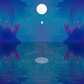 Fox Moon Scene 18 x 18