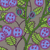 money plant with [magenta + periwinkle] seed pods and [slate+ celery] stalks