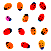 ladybug white square Braille dot