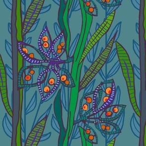new zealand broom seed pods in greens + slate + deep