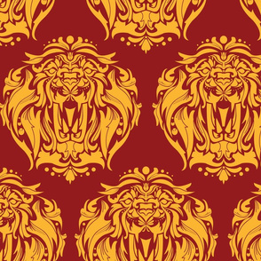 Lion Damask on red - 5 inch