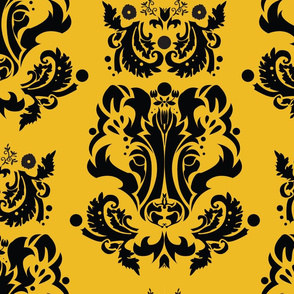 Hufflepuff Damask Badger on Gold 5inch