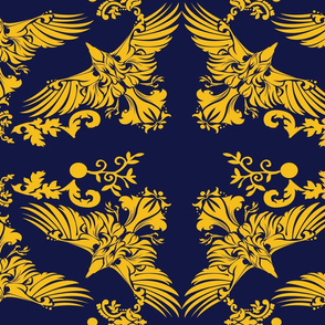 Ravenclaw Damask Raven on Blue 5inch