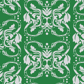 Slytherin Damask snake on green 5inch