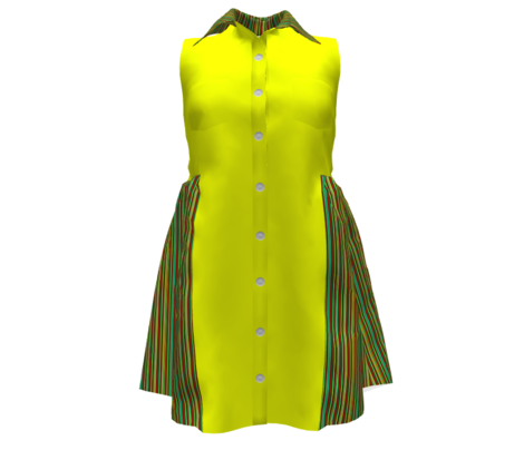 Bellanina 13 - Pinstripe of yellow, green, orange and rust
