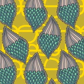 milkweed pods with bobbly background in honey + sun